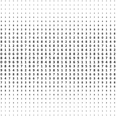 Fondo de números de semitono. Patrón de vector de matemáticas de efecto de semitono. Círculo de dígitos aislados en el fondo blanco. Foto de archivo - 91354231