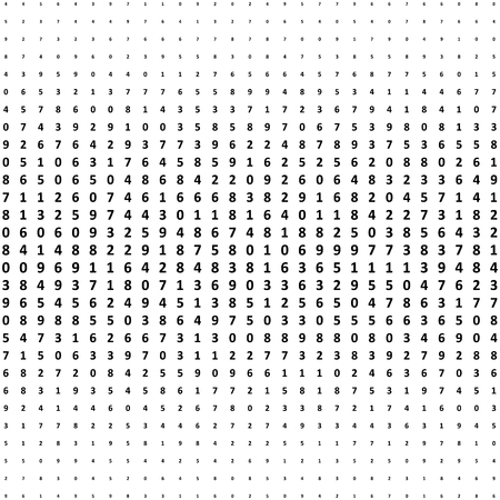 Halftone numbers background. Halftone effect math vector pattern. Circle digits isolated on the white background. Illustration
