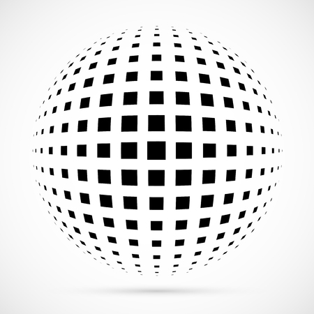 White 3D vector halftone sphere.Dotted spherical background. Template with shadow.Circle dots isolated on the white background.
