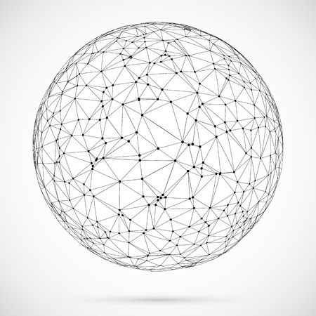 Big data icon. Artificial intelligence. Global network concept. Abstract geometric spherical shape with triangular shapes.Wireframe dotted sphere.