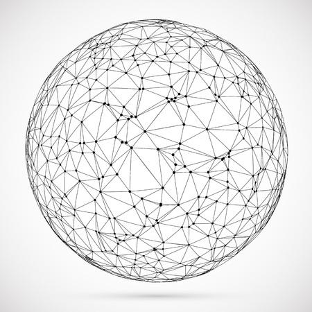 Big-Data-Symbol. Künstliche Intelligenz. Globales Netzwerkkonzept. Abstrakte geometrische Kugelform mit dreieckigen Formen. Drahtgitter gepunktete Kugel.