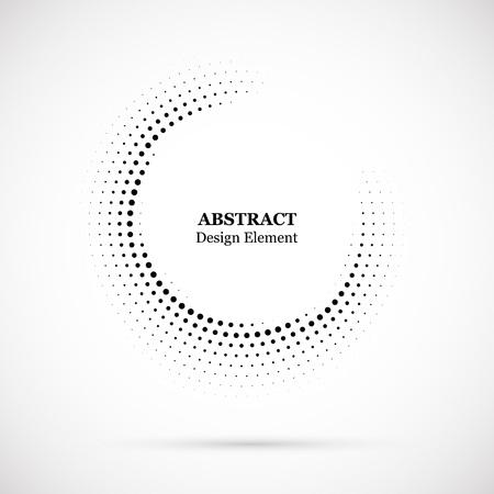 Sfondo punteggiato mezzetinte distribuito circolarmente. Modello vettoriale effetto mezzetinte. Puntini di cerchio isolati su sfondo bianco.