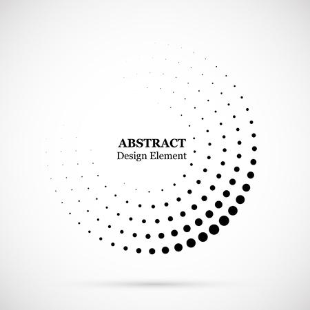 Fondo punteado de semitono distribuido circularmente. Patrón de vector de efecto de semitono. Puntos circulares aislados en el fondo blanco. Ilustración de vector
