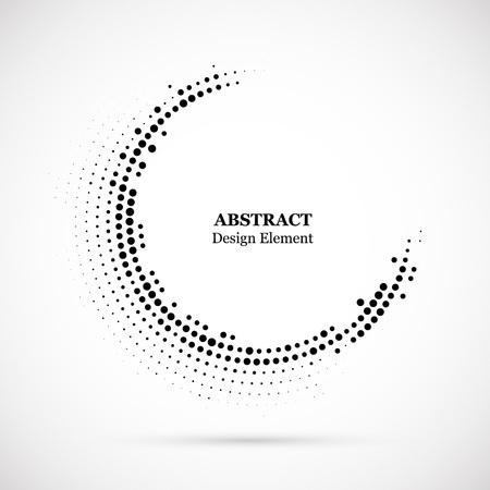 Fond pointillé en demi-teinte distribué de manière circulaire. Modèle vectoriel effet demi-teinte. Points de cercle isolés sur fond blanc.
