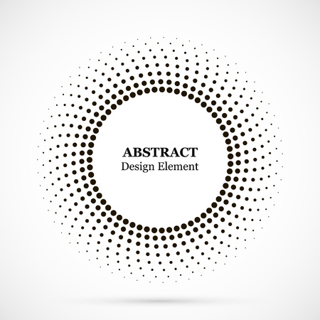 Halftone dotted background circularly distributed. Halftone effect vector pattern. Circle dots isolated on the white background. Border logo icon. Draft emblem for your design.