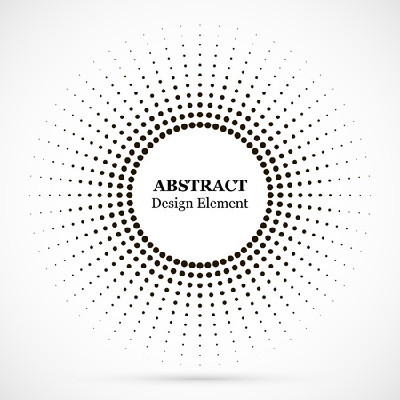 하프톤 점선 배경이 원형으로 분포되어 있습니다. 하프톤 효과 벡터 패턴입니다. 흰색 배경에 고립 된 원형 점입니다. 테두리 로고 아이콘입니다. 디자인을 위한 초안 상징입니다. 벡터 (일러스트)