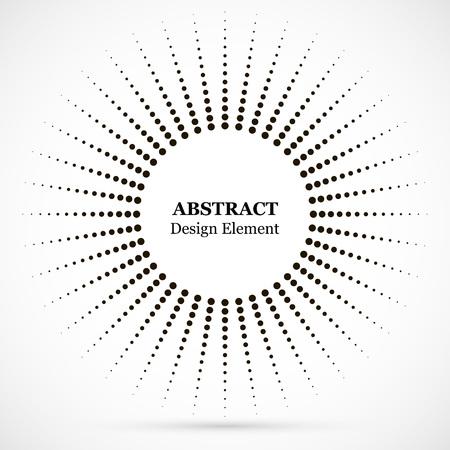 하프톤 점선 배경이 원형으로 분포되어 있습니다. 하프톤 효과 벡터 패턴입니다. 흰색 배경에 고립 된 원형 점입니다. 테두리 로고 아이콘입니다. 디자인을 위한 초안 상징입니다.