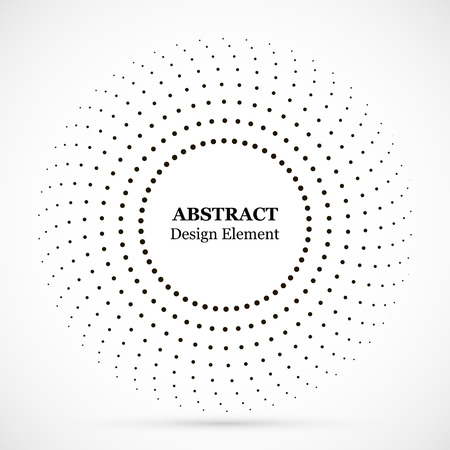 Halftone dotted background circularly distributed. Halftone effect vector pattern. Circle dots isolated on the white background.Border logo icon. Draft emblem for your design. Illustration
