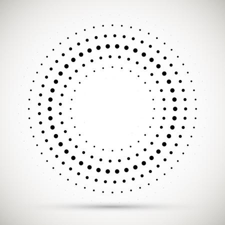 Elemento de diseño de emblema de logotipo de puntos de semitono de marco de círculo de vector abstracto negro. Icono de borde redondeado. Textura de vector de puntos de círculo de semitono aislado.