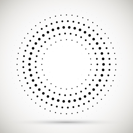 Elemento di disegno dell'emblema del logo dei punti di semitono del telaio del cerchio di vettore astratto nero. Icona del bordo arrotondato. Struttura di vettore di puntini del cerchio di semitono isolato.