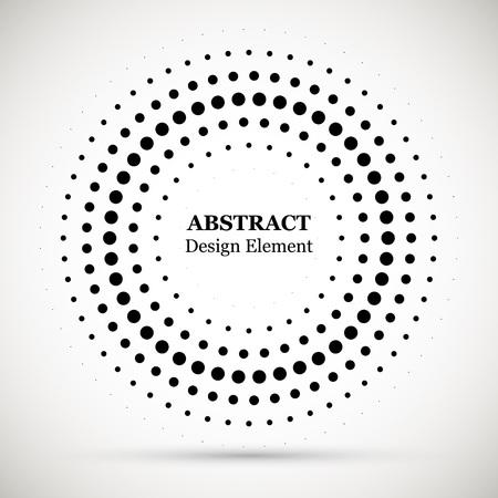 검은 추상적인 벡터 원형 프레임 하프톤 도트 로고 엠 블 럼 디자인 요소입니다. 디자인을 위한 하프톤 효과 벡터 패턴입니다. 광고에 대 한 흰색 배경에 고립 된 원형 점.