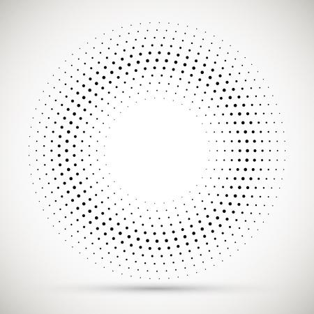 Black abstract vector circle frame halftone dots logo emblem design element. Rounded border icon. Isolated halftone circle dots vector texture.