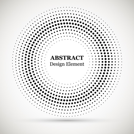 Black abstract vector circle frame halftone dots logo emblem design element. Halftone effect vector pattern for your design. Circle dots isolated on the white background for advertisement. Stock Vector - 121675123
