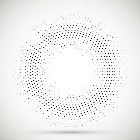Black abstract vector circle frame halftone dots logo emblem design element. Rounded border icon. Isolated halftone circle dots vector texture.