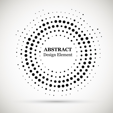 Black abstract vector circle frame halftone dots logo emblem design element.  Halftone effect vector pattern for your design. Circle dots isolated on the white background for advertisement.