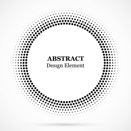 Black abstract vector circle frame halftone dots design element.Halftone effect vector pattern for your design. Isolated circle dots isolated for medical, cosmetic advertisement.