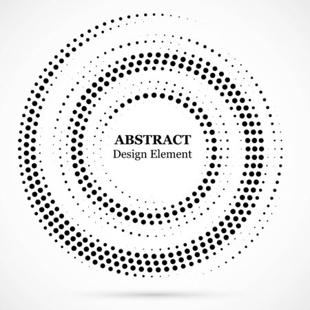 Halftone dotted background circularly distributed. Halftone effect vector pattern.Circle dots isolated on white background. Isolated circle dots vector texture.
