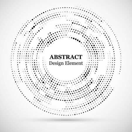 Abstract dotted halftone modern pattern background.Black decorative design halftone round circle elements isolated on white.Circular abstract vector background consisting of dots.