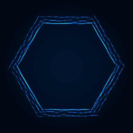 Abstract stipple background. Blue luminous lines. Azure glowing edge. Indigo light border. Ultramarine sparking particles. Colorful hexagon. Bright contour.