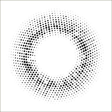 Halftone dotted circular background.Halftone effect  vector pattern. Circle dots isolated on white background. Cosmetic, medicine, advertisement illustration.