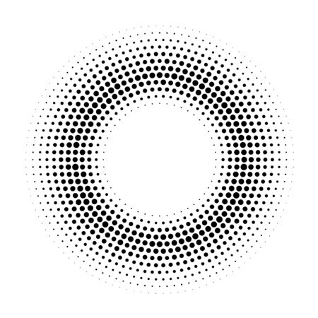 Halftone dotted circular background.Halftone effect  vector pattern. Circle dots isolated on white background. Cosmetic, medicine illustration.