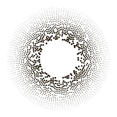 Big data icon. Artificial intelligence. Halftone dotted background. Global network concept. Abstract geometric dotted shape. Halftone effect vector pattern Векторная Иллюстрация