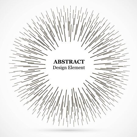 Bursting lines.Set of circular rays.Assymetric radial elements.Linear drawing.Vector illustration pattern.Monochrome explosion background.  Иллюстрация