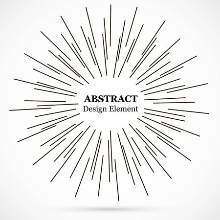 Bursting lines.Set of circular rays.Assymetric radial elements.Linear drawing.Vector illustration pattern.Monochrome explosion background.