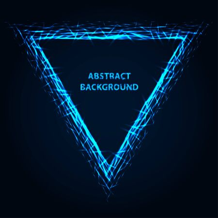 Abstract stipple background. Blue luminous lines. Azure glowing edge. Indigo light border. Ultramarine sparking particles. Colorful triangle. Bright contour. Çizim