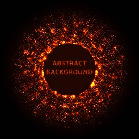 Abstract stipple background. Red Luminous circles. Crimson elegant glowing circle. Maroon  light ring. Cherry Sparking particles. Colorful ellipse. Bright border.