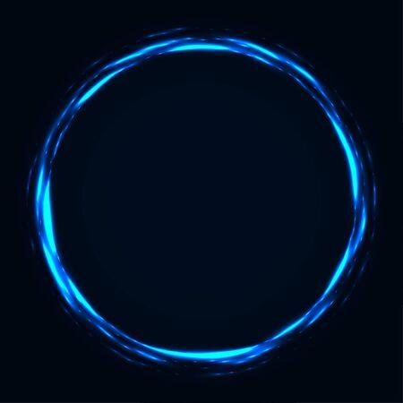 Abstract stipple background. Blue luminous circles. Azure glowing circle. Indigo light ring. Ultramarine sparking particles. Colorful ellipse. Bright border. Illustration