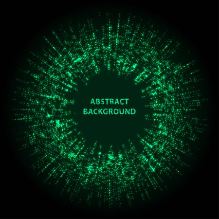 Abstract stipple background. Green Luminous circles. Aquamarine elegant glowing circle.  Green light ring. Virid sparking particles. Colorful ellipse. Bright border. Stok Fotoğraf - 131856571