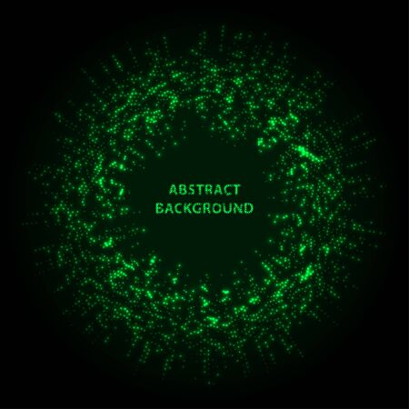 Abstract stipple background. Green Luminous circles. Aquamarine elegant glowing circle.  Green light ring. Virid sparking particles. Colorful ellipse. Bright border. Stockfoto - 131856848