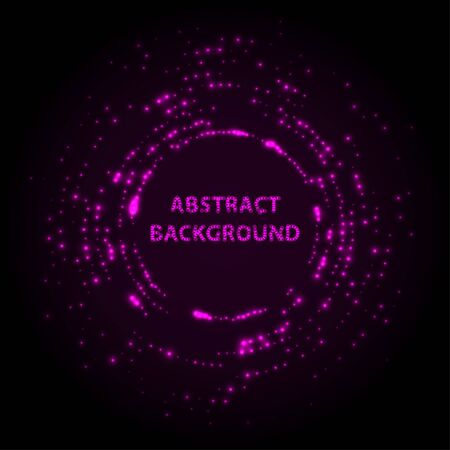 Abstract stipple background. Pink Luminous circles. Purple elegant glowing circle. Violet  light ring. Sparking particles. Colorful ellipse. Bright border.