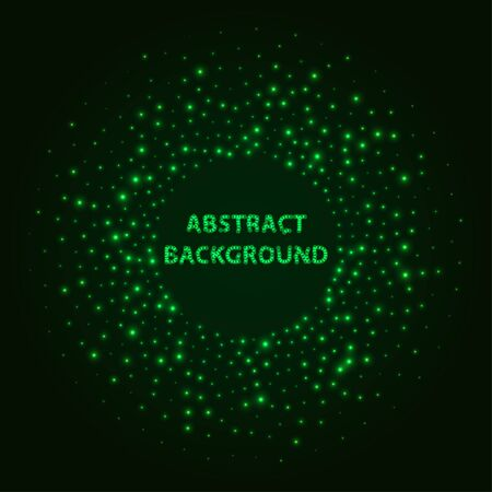 Abstract stipple background. Green Luminous circles. Aquamarine elegant glowing circle.  Green light ring. Virid sparking particles. Colorful ellipse. Bright border.