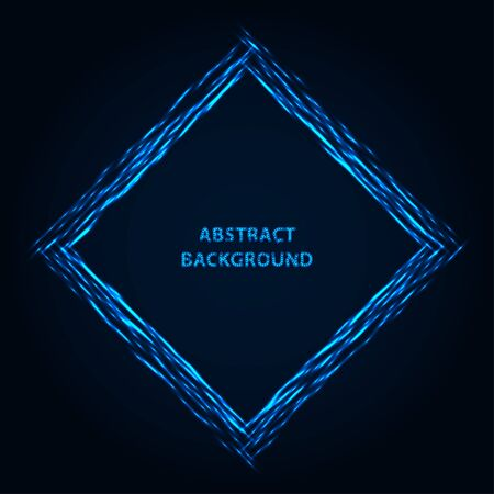 Abstract stipple background. Blue luminous lines. Azure glowing edge. Indigo light border. Ultramarine sparking particles. Colorful square. Bright contour.