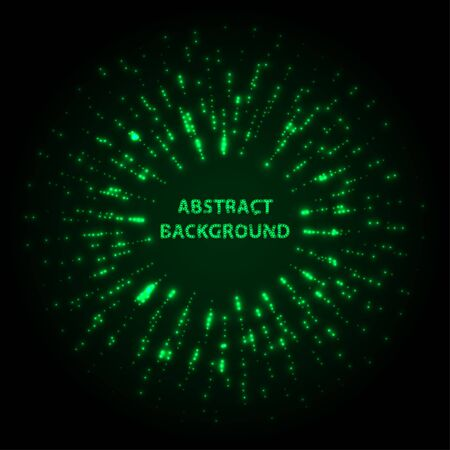Abstract stipple background. Green Luminous circles. Aquamarine elegant glowing circle.  Green light ring. Virid sparking particles. Colorful ellipse. Bright border. Stok Fotoğraf - 131856507