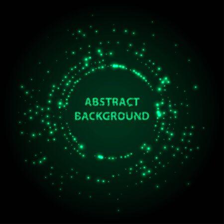 Abstract stipple background. Green Luminous circles. Aquamarine elegant glowing circle.  Green light ring. Virid sparking particles. Colorful ellipse. Bright border. Stok Fotoğraf - 131856543