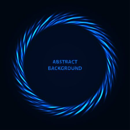 Abstract stipple background. Blue luminous circles. Azure glowing circle. Indigo light ring. Ultramarine sparking particles. Colorful ellipse. Bright border. Çizim
