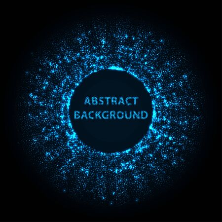 Abstract stipple background. Blue Luminous circles. Navy elegant glowing circle.  Azure light ring. Indigo sparking particle. Ultramarine colorful ellipse. Bright border.