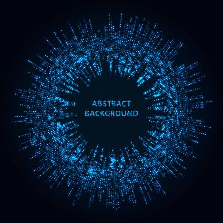 Abstract stipple background. Blue Luminous circles. Navy elegant glowing circle.  Azure light ring. Indigo sparking particle. Ultramarine colorful ellipse. Bright border.