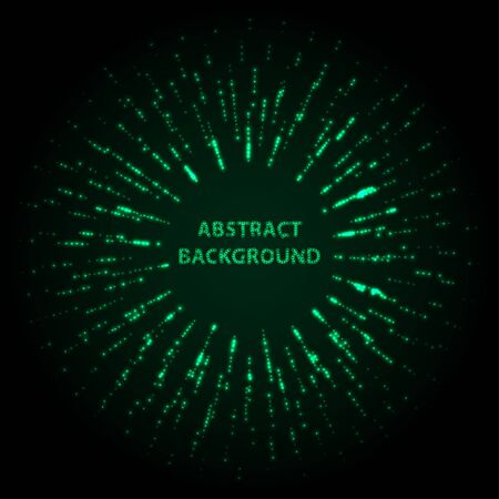 Abstract stipple background. Green Luminous circles. Aquamarine elegant glowing circle.  Green light ring. Virid sparking particles. Colorful ellipse. Bright border. Stok Fotoğraf - 131855710