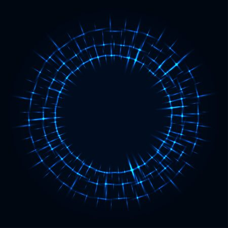 Abstract stipple background. Blue luminous circles. Azure glowing circle. Indigo light ring. Ultramarine sparking particles. Colorful ellipse. Bright border. Çizim