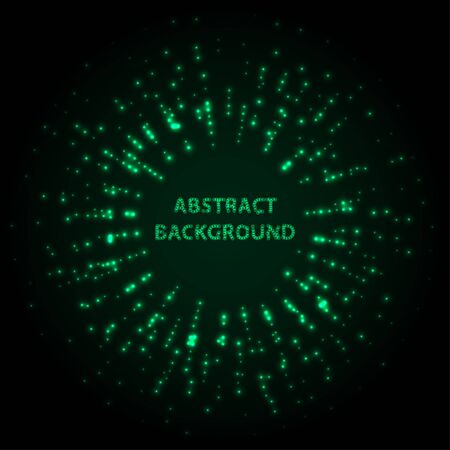 Abstract stipple background. Green Luminous circles. Aquamarine elegant glowing circle.  Green light ring. Virid sparking particles. Colorful ellipse. Bright border. Stok Fotoğraf - 131856504