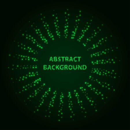 Abstract stipple background. Green Luminous circles. Aquamarine elegant glowing circle.  Green light ring. Virid sparking particles. Colorful ellipse. Bright border. Stok Fotoğraf - 131856863