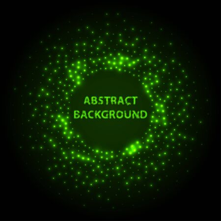 Abstract stipple background. Green Luminous circles. Aquamarine elegant glowing circle.  Green light ring. Virid sparking particles. Colorful ellipse. Bright border. Stok Fotoğraf - 131856550