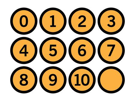 Set of number in orange circle vector illustration