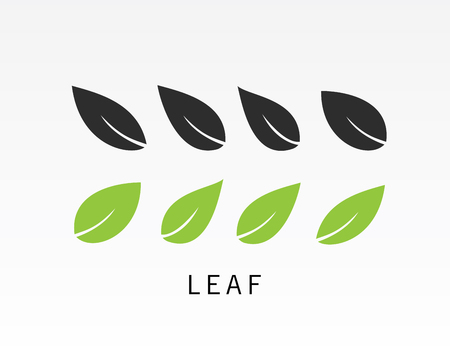 Black and green leaves icon set vector illustration on light gray background.