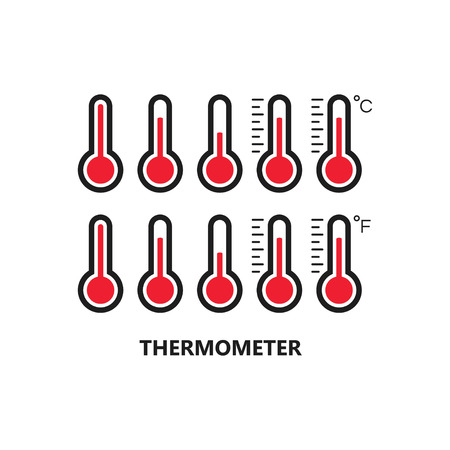 Thermometer icon set vector illustration on white background. Illustration