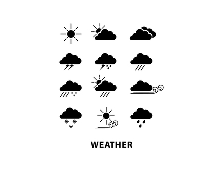windy day: Weather icon set on white background. Sun, rain, winter, cloudy, and windy. Illustration